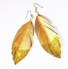 Dangle Earrings Metallic Glitter Dipped  Faux by lovesexton, $24.80 @LoveThyNest