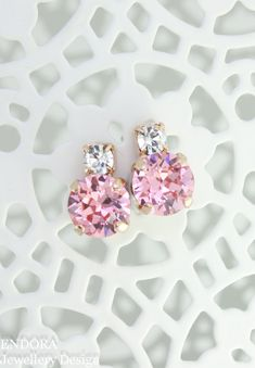 Pink bridesmaid earringspink wedding by EndoraJewellery on Etsy