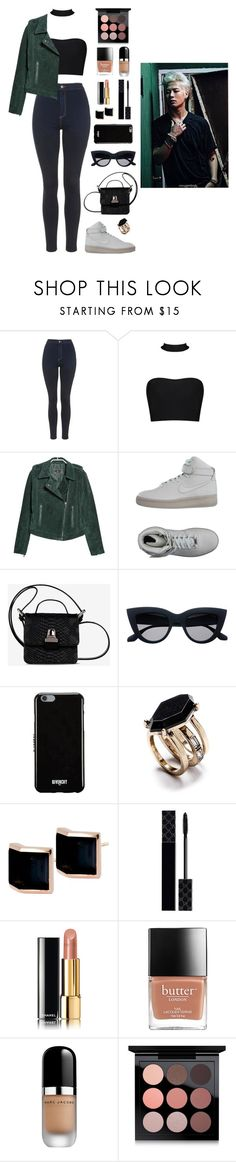 """""""Movie date with Jackson"""" by got7outfits ❤ liked on Polyvore featuring Topshop, MANGO, NIKE, MM6 Maison Margiela, Givenchy, Kattri, Gucci, Chanel, Marc Jacobs and MAC Cosmetics"""