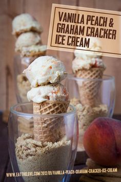 Vanilla Peach and Graham Cracker Ice Cream