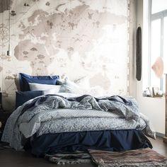 """Parure de lit """"Cadence"""" en percale de coton dans de jolis tons de bleu, Essix"""