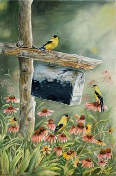 Stormbirds original watercolor by TivoliGardens on Etsy.
