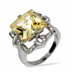 Celebrity Style Princess Cut Canary CZ Cocktail Ring~Love yellow stones~so beautiful~