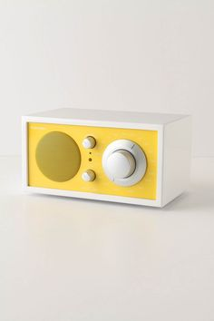 yellow radio, my teen room was yellow and orange, white modern furniture with yellow horizontal spripe, hollywood corner beds, fluffy white rugs, and this radio would have been perfect!