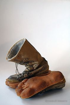 Leave barefoot tracks in snow, but don't go barefoot! Maskull Lasserre's Outliers. 3D feet/soles on boots.