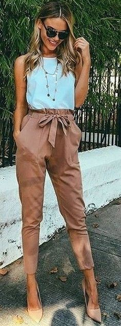 #fall #executive #peonies #outfits | White Top   Camel Work Up Pants