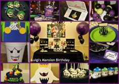 Luigi's Mansion Inspired 7th Birthday Party Ideas, Mario Birthday Party, Mario Party, Lincoln Birthday, Thomas Birthday, Boy Birthday, Luigi's Haunted Mansion, Elmo, Luigi Mansion
