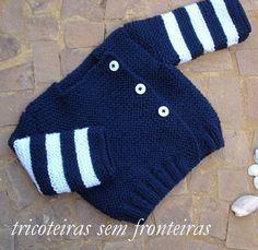 by Pipitty: CASAQUINHO DE BEBÊ AZUL MARINHO E BRANCO Receita passo a passo Baby Sweater Knitting Pattern, Knit Baby Sweaters, Knitted Baby Clothes, Baby Kids Clothes, Baby Knitting Patterns, Baby Patterns, Knitted Hats, Knitting For Kids, Crochet For Kids
