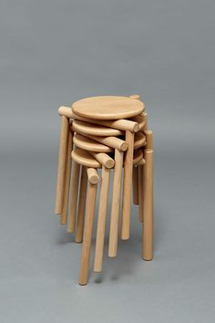 Rodular Stacking stool designed by James Shaw Funky Furniture, Furniture Design, Modern Counter Stools, Upholstered Stool, Low Stool, Scandinavian Furniture, Bar Chairs, Chair Design, Woodworking