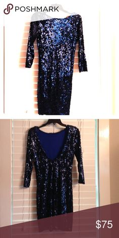 Navy Sequined Cocktail Dress Long sleeve navy sequined cocktail dress. Low back and sits at mid thigh. Fitted but not too tight. Dresses Prom