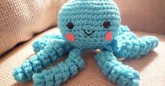 """Free Octopus pattern by Caroline Chrisco Materials: Small amounts of ww yarn """"G"""" hook 9mm safety eyes Fiberfill stuffing Embroidery threa..."""