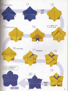 Flor de Maio: Origami flor de cerejeira com diagrama