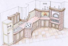 Building a masonry kitchen Country Kitchen, Diy Kitchen, Vitrine Miniature, Four A Pizza, Rustic Basement, Best House Plans, Diy House Projects, House On Wheels, Kitchen Layout