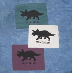 Vegetarian Dinosaur Patch  Triceratops Black on by phoenixcompost