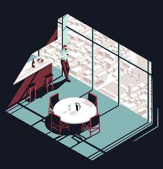 Tom Haugomat è un illustratore e animatore parigino dallo stile molto personale che realizza immagini minimaliste dal forte contenuto narrativo