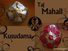 Origami 登 Taj Mahal 登 Kusudama Tutorial - YouTube Origami Instructions, Origami Tutorial, Origami Videos, Diy Art, Christmas Bulbs, Arts And Crafts, Paper, Design, How To Make