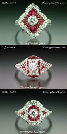 A large selection of hand-made vintage style rings available at BloomingBeautyRing.com  (213) 222-8868  #VintageStyleRings