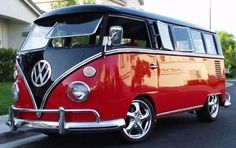 Black and Red VW Bus
