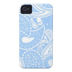 Retro Paisley swirl pattern - light blue Case-mate Iphone 4 Cases y #In_case
