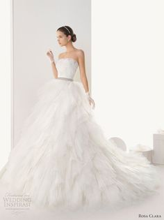 rosa clara wedding dresses strapless ball gown - Barcelona rebrodé lace gown and tulle shrug with beadwork