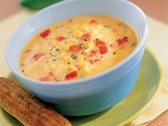 Learn how to make Southwestern Corn And Red Pepper Soup. MyRecipes has tested recipes and videos to help you be a better cook. Frozen Corn Recipes, Corn Pudding Recipes, Corn Soup Recipes, Chowder Recipes, Red Pepper Soup, Stuffed Pepper Soup, Stuffed Peppers, Bell Pepper, Buffy