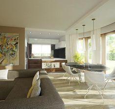 Zdjęcie projektu Heliodor - murowana – beton komórkowy KRD2303 Micro House, House Plans, Conference Room, Dom, Table, Houses, Floor, Furniture, Home Decor