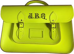 Initials laser engraved onto fluoro Cambridge satchel