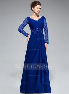 [US$ 148.99] A-Line/Princess V-neck Floor-Length Chiffon Lace Mother of the Bride Dress With Beading Sequins Cascading Ruffles (008050416)