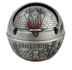 Creative Cool Ancient Egyptian Style Pyramid Sphinx Pharaoh Pattern Tin Alloy Spherical Ashtray Home DecorationGrey ** This is an Amazon Affiliate link. You can find out more details at the link of the image.