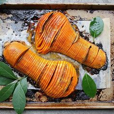 Maple-Roasted Hasselback Butternut Squash. An easy, festive side dish for the holidays. Recipe on my blog, link in profile.