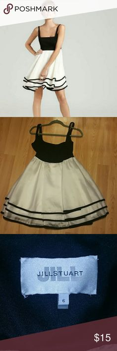 Jill Stuart dress Black and white baby doll style party dress. The bottom is a sheer organza with a slight sheen to the fabric. Jill Stuart Dresses