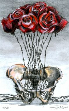 """Derek Hess, """"Vase"""", Acrylic, Ink & Pen, 2012. Additional Information: Part of the """"Critical Infrastructure Against External Threats"""" series."""
