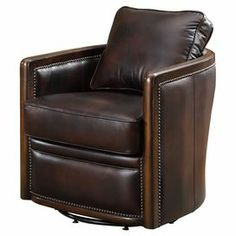 """Lend handsome appeal to your living room or den seating arrangement with this stately accent chair, upholstered in leather with a nailhead trim.  Product: ChairConstruction Material: Leather and woodColor: BrownFeatures: Nailhead trimDimensions: 31"""" H x 30"""" W x 35"""" D"""
