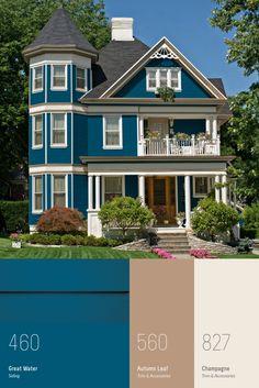 House Paint Exterior, Dream House Exterior, Exterior House Colors, Exterior Design, Siding Colors, House Siding, Estilo Craftsman, Sims House Design, Sims House Plans