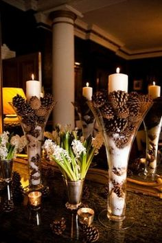 For a winter wedding > pinecones and cotton