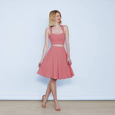 9890d5ae82d Grace Summer Pastel Crop Top and High Waisted Skirt Set in Dusky Pink