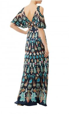 Quartz Printed Long Dress - Eveningwear - In a whimsical print inspired by mineralogy, gemstones and mystical creatures, the regal Quartz Printed Long Dress is an ode to the art of alchemy. Crafted from midnight blue silk hammered satin, this elegant evening gown features flutter cold shoulders and a sweeping floor-length A-line silhouette.
