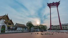 """4K Cinemagraph, """"Wat Suthat Thepwararam"""" The famous ancient temple in Bangkok. The big giant swing in front of temple. In 2005,the both of them, was suggested as a future UNESCO World Heritage Site."""