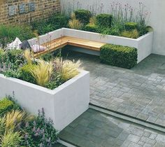 raised planters and seating made from clockwork - Planters - Ideas of Planters #Planters - raised planters and seating made from clockwork Small Courtyard Gardens, Small Courtyards, Back Gardens, Outdoor Gardens, Courtyard Ideas, Small Gardens, Modern Courtyard, Courtyard Design, Garden Spaces