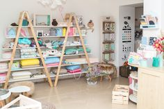Ladder Bookcase, Showroom, Shelves, Home Decor, Shelving, Decoration Home, Room Decor, Shelving Units, Home Interior Design