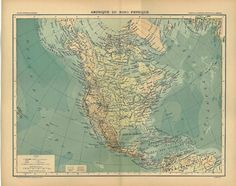 Vintage Map North America Physical 1899 Canada United by carambas, $22.00