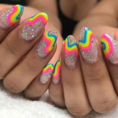 40 Stylish Nail Art Designs 2019 Amazing Rainbow Nails Designs Ideas Wear In This Summer Nails Elegant Rhinestones Coffin Nails Designs - New Ideas Funky Nails, Cute Nails, Pretty Nails, Bright Gel Nails, Bright Nail Art, Neon Nail Art, Funky Nail Art, Best Acrylic Nails, Acrylic Nail Designs