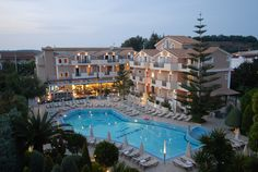 Contessina Hotel - Pool Area and Main Building in the Evening