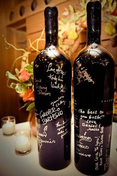 What better choice for a wine-themed wedding than asking guests to sign a few bottles of your favorite vintage? Stop by a local craft shop to pick up a set of silver pens specially designed for writing on glass, and then let your guests go to town!