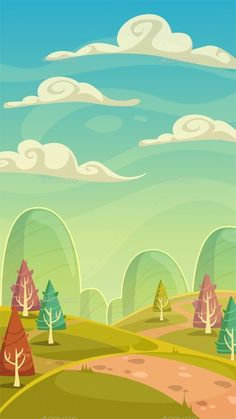 Cartoon Nature Landscape by Lilu330 Funny cartoon nature landscape, sunny day vector illustration, vertical size background for mobile phone screen