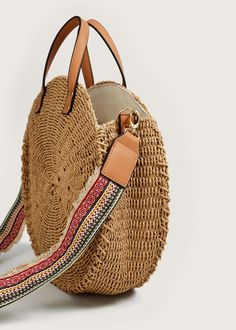 Mango Round Raffia Bag - Beige One Size Boho Crochet, Mango France, Basket Bag, Summer Bags, Cute Bags, Knitted Bags, Bag Making, Straw Bag, Leather Bag
