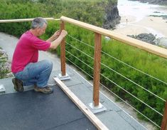Decking balustrade as installed for the Pardoe family at Trevone in Cornwall - Geländer terasse - Balcony Decking Fence, Patio Railing, Patio Fence, Backyard Pergola, Backyard Landscaping, Patio Balustrade Ideas, Deck Railing Kits, Wire Balustrade, Balustrades