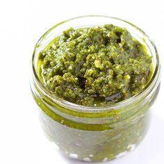 Basil Pesto with Almonds - I switched out the pine nuts for almonds to give this pesto amazing flavor and a little crunch.