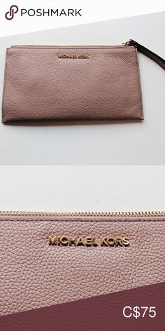"""MICHAEL Michael Kors ballet pink leather wristlet Slim MICHAEL Michael Kors wristlet made from """"ballet pink"""" genuine pebbled leather and featuring gold coloured hardware accents.  The neutral shade makes it an excellent accessory for any style of outfit in any colour or print.  It's the perfect sized stash all for necessities on a night out or at a special event, but can also be used to add polish to a casual ensemble.  Zip closure. Lined interior with 6 card slots and wrist strap.  In… Pink Leather, Pebbled Leather, Michael Kors Wristlet, Zip Around Wallet, Neutral, Hardware, Polish, Ballet, Closure"""
