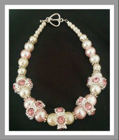 Pink & Cream sparkle bracelet Pearl Necklace, Sparkle, Pearls, Cream, Bracelets, Pink, Jewelry, Fashion, String Of Pearls